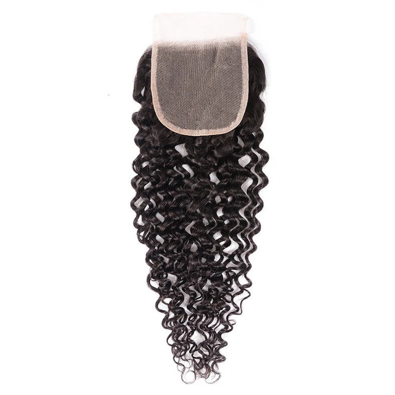 SocoosoHairWig 1 pieces 4x4 square top curly human hair transparent free part lace closure for sale