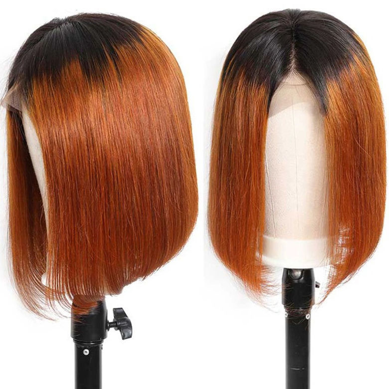 SocoosoHairWig straight bob lace front virgin hair wig of ombre color t1b30 for womens