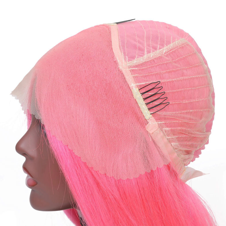SocoosoHairWig short straight wigs pink bob wig of 13x4 inch frontal virgin human hair with baby hair