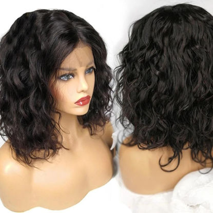 SocoosoHairWig lace front water wave bob remy short hair wigs 8 14 inch length with thick 150 hair densi