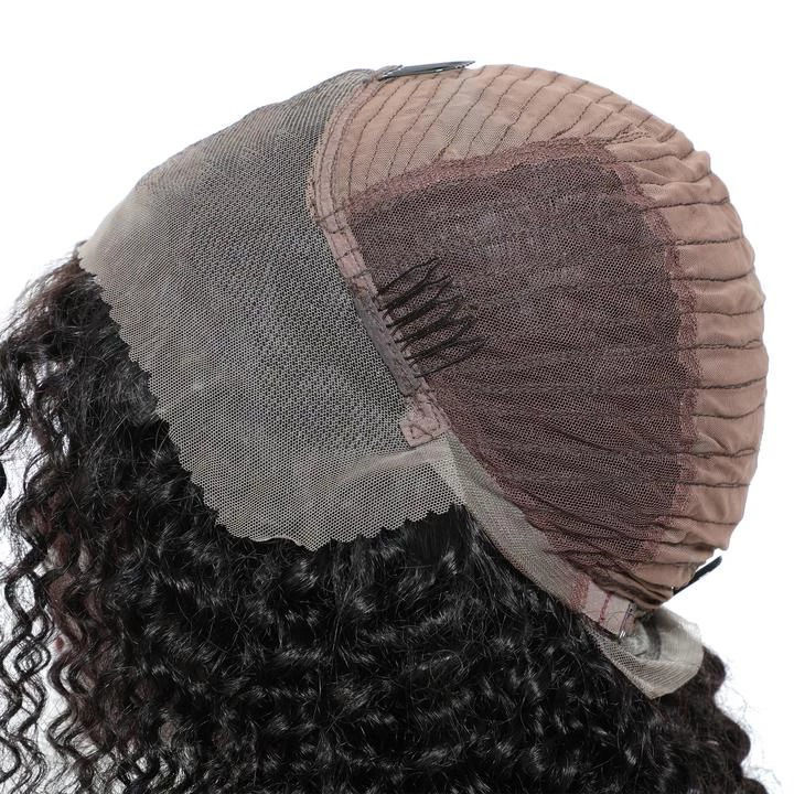 SocoosoHairWig thick short natural black lace front curly remy hair bob wig