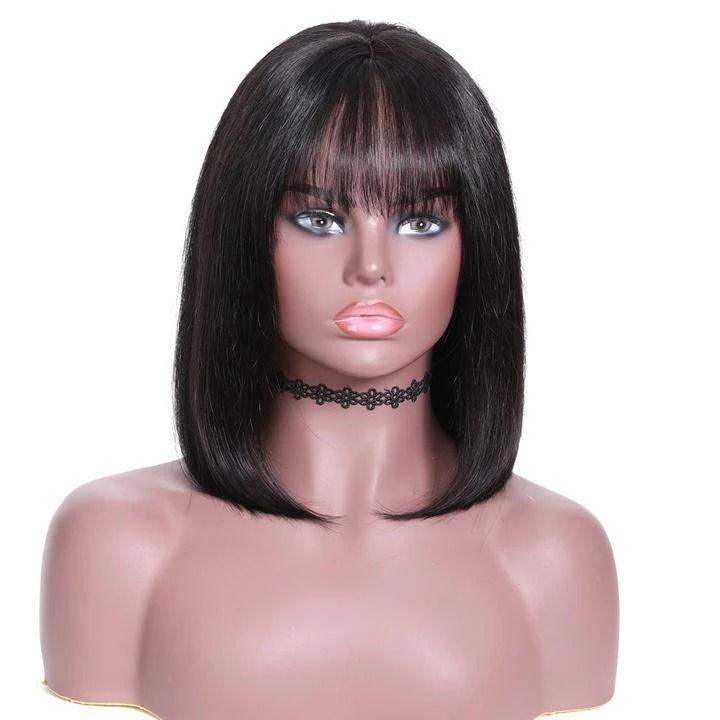 SocoosoHairWig 13x4 inch lace front virgin hair silky straight bob hair with bangs wigs
