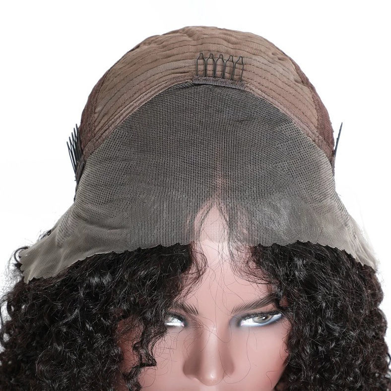 SocoosoHairWig natural black short kinky curly human virgin hair bob lace front wig