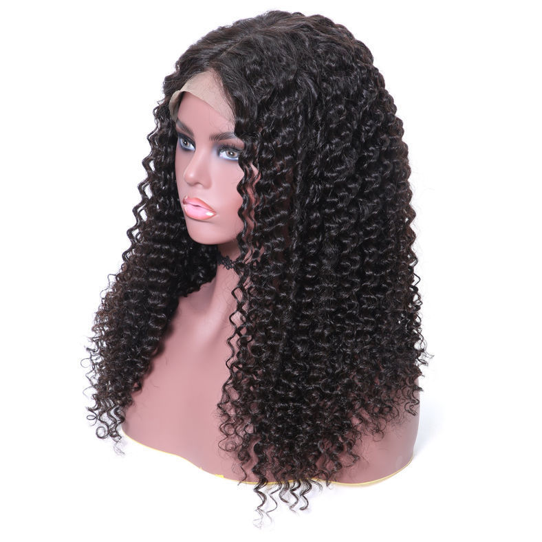 SocoosoHairWig natural black 360 lace wigs of curly human hair in 10 24 inch length