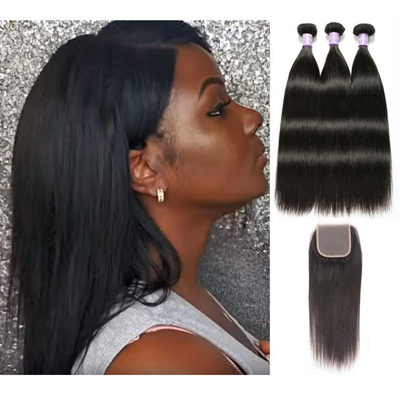 latest SocoosoHairWig 3 pieces straight quality virgin human hair plus 4 by 4 inches natural color lace