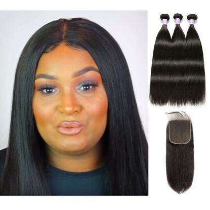 SocoosoHairWig latest trend 3 bundles straight 100 virgin human hair plus 66 inches lace closure on sale