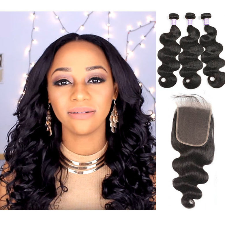 top quality SocoosoHairWig 3 bundles 100 virgin human hair with 6x6 inches natural hairline lace closure