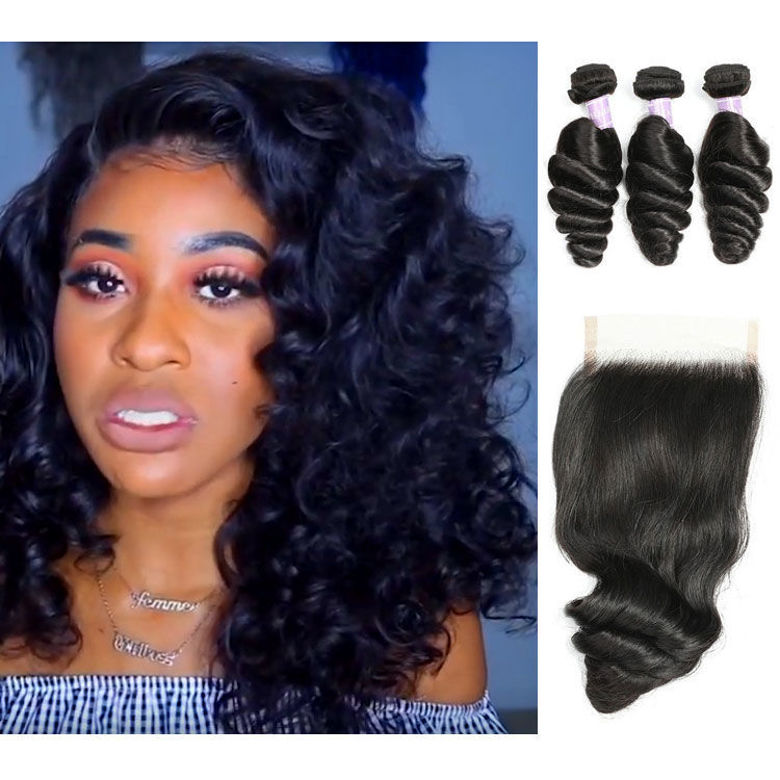 SocoosoHairWig natural malaysian loose wave human hair 3 bundles with a seemless closure 4x4 inch on sal
