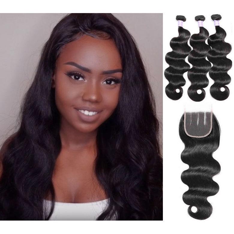 SocoosoHairWig malaysian body wave 4x4 lace closure with 3pcs virgin human hair weave