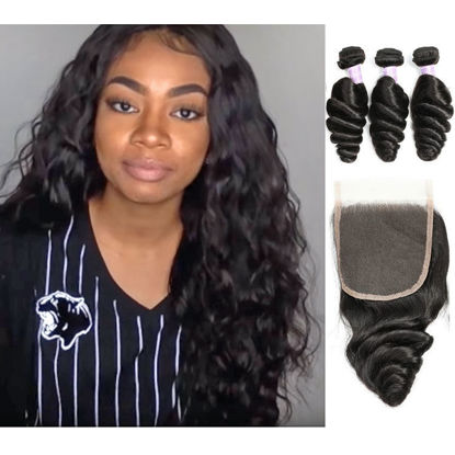 best quality SocoosoHairWig 100 loose wave virgin human hair 3 bundles plus natural hairline lace closur
