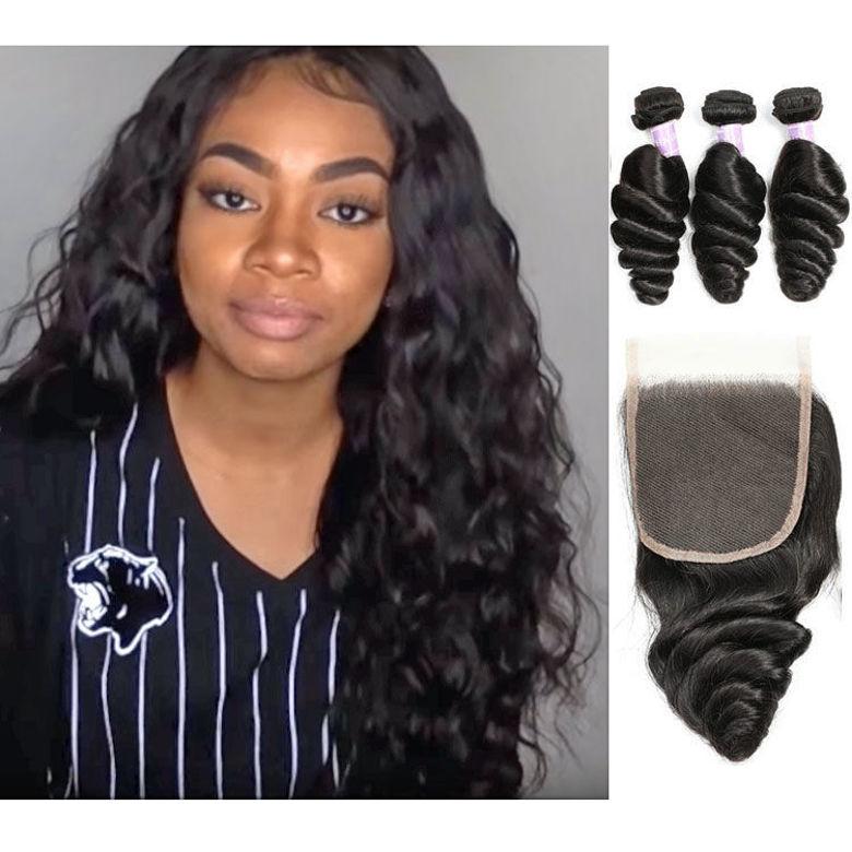 best quality SocoosoHairWig 100 loose wave virgin human hair 3 bundles plus natural hairline lace closur