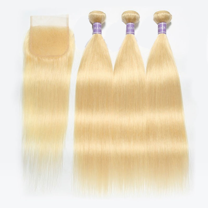 top notch SocoosoHairWig 613 sleek blonde straight virgin hair 3 bundles with natural 44 lace closure br