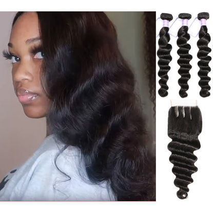 SocoosoHairWig quality natural loose deep wave virgin human hair 3 bundles with bleached baby hair 4x4 l