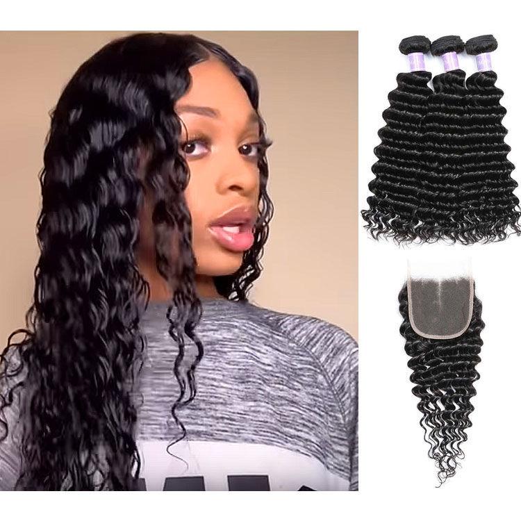 SocoosoHairWig top brand quality 100 brazilian human hair deep wave hair 3 bundles with lace closure 4 b