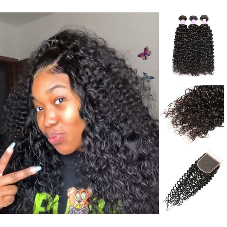SocoosoHairWig 3pcs mixed virgin jerry curly human hair plus 1pc 4x4 sqaure lace closure
