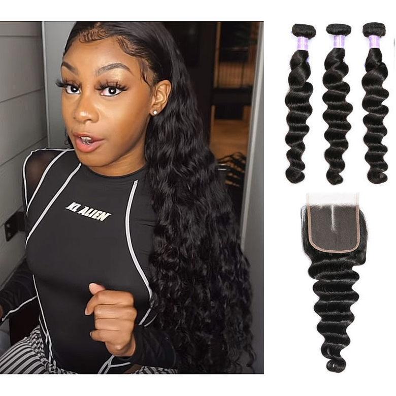cheap SocoosoHairWig peruvian loose deep wave virgin hair weft 3 bundles 8 26 length lace closure 4x4 in