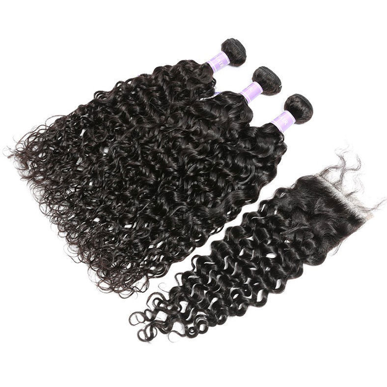 SocoosoHairWig natural wave virgin human hair 3 pieces with 1 piece 4x4 square lace closure