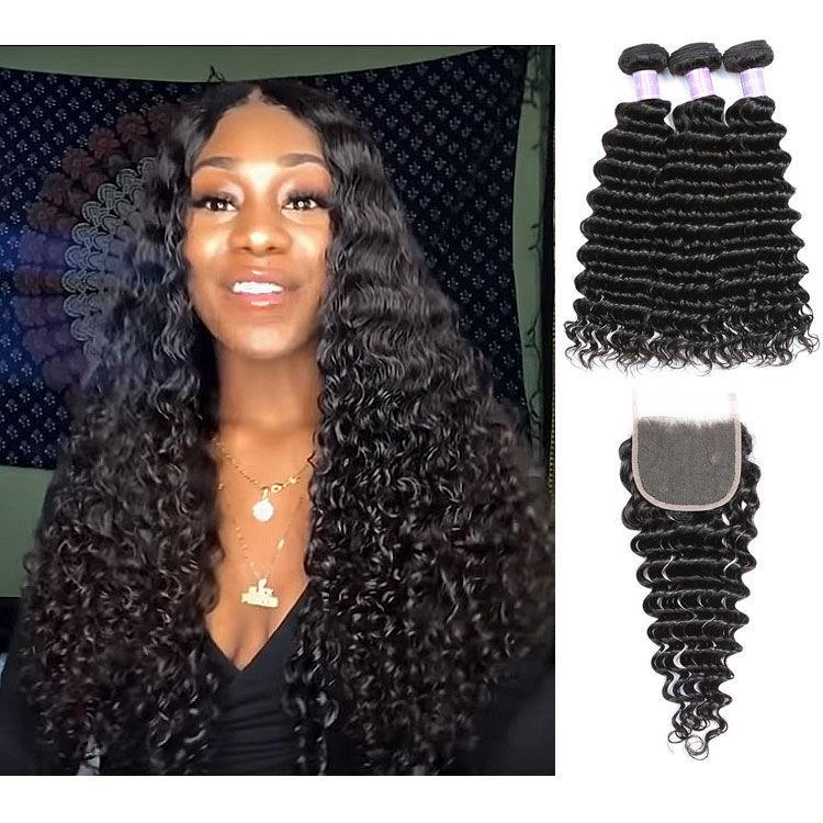 SocoosoHairWig 3 wefts deep wave human virgin hair match 1 pcs lace closure 4x4 inch square