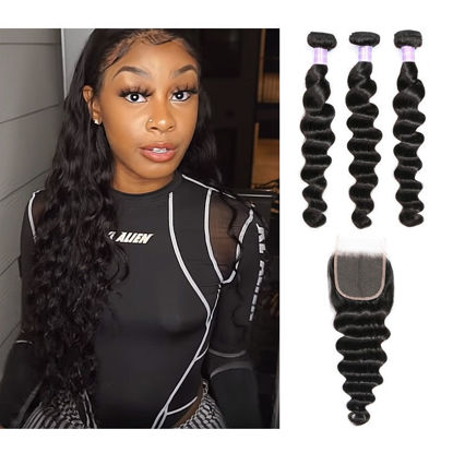 SocoosoHairWig malaysian loose deep wave 3 bundles human virgin hair with 4x4 square 8 20inch length lac