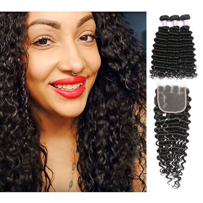 SocoosoHairWig deep wave peruvian human remy 3 weaves with 4x4 inch sqaure lace closure