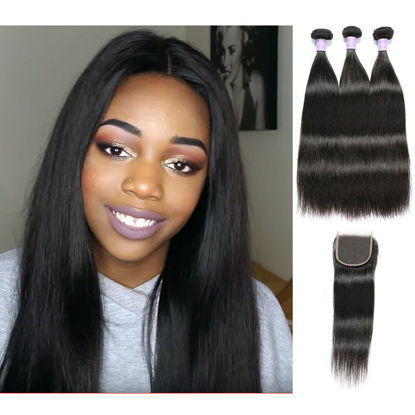 SocoosoHairWig indian virgin 3 bundles straight hair weft with 8 20inch lace closure full handmade sew i