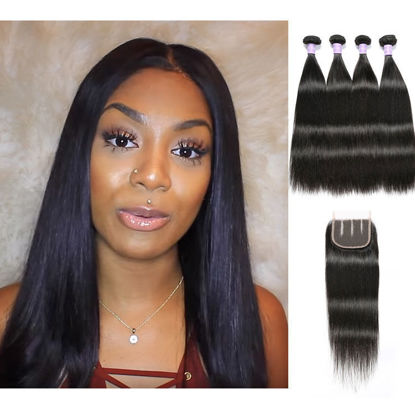 SocoosoHairWig straight virgin peruvian human hair 4 bundles with 1 piece 4x4 inch lace closure