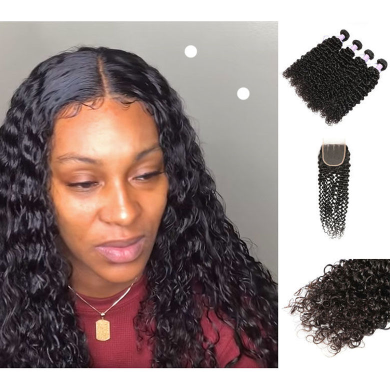 100 SocoosoHairWig top human hair 4 bundles remy jerry curly hair with 4x4 inch area lace closure 8 20 i