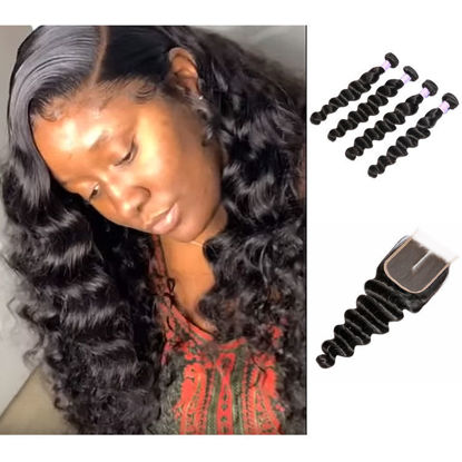 SocoosoHairWig peruvian loose deep wave 4x4 closure plus 4 pieces virgin hair weave