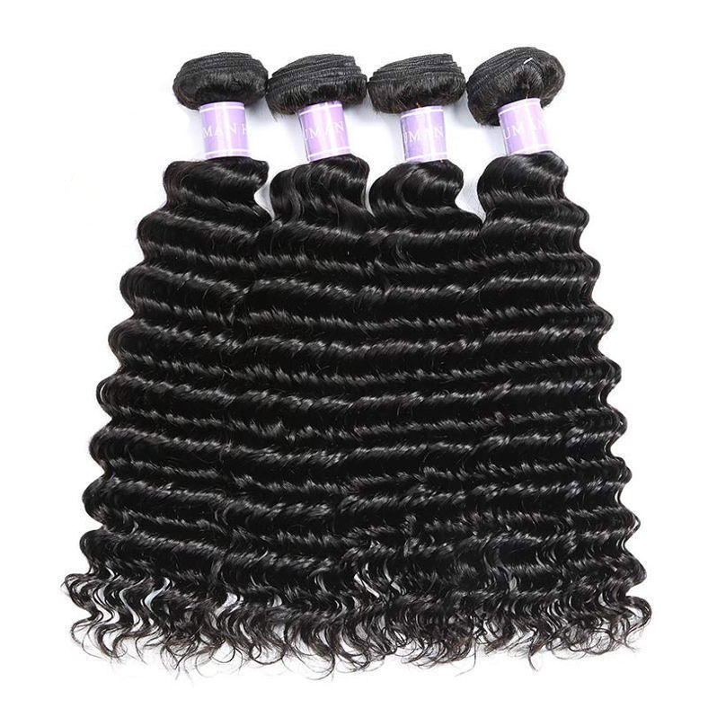 SocoosoHairWig peruvian remy hair 4 bundles with lace closure all deep wave hair piece 4x4 inch square
