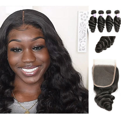 peruvian original virgin human hair 4 wefts plus 1 lace closure 4x4 inch SocoosoHairWig loose wave hair
