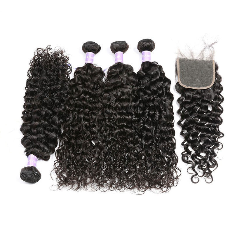 SocoosoHairWig peruvian natural wave human hair a set 4 bundles with 1 pcs lace closure 3 part type