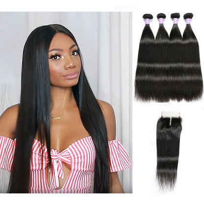 malaysian virgin human hair straight 4 pcs match 1 pcs lace closure 4x4 inch for wig