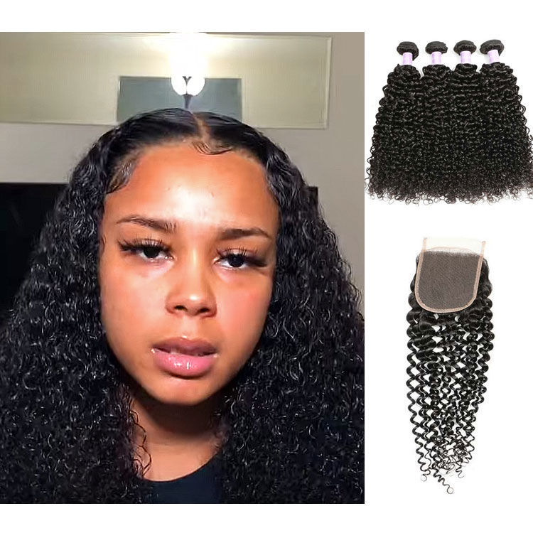 SocoosoHairWig 4 weaves peruvian jerry curly hair extensions with 4x4 square lace closure