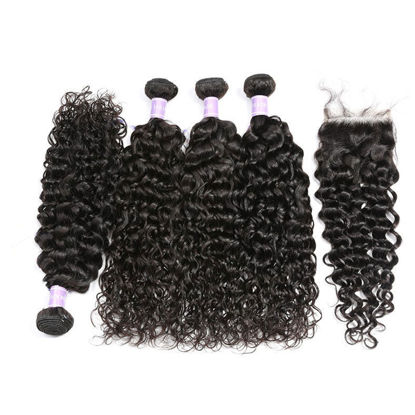 SocoosoHairWig brazilian natural wave hair closure 4x4 with virgin hair weave 4 pcs