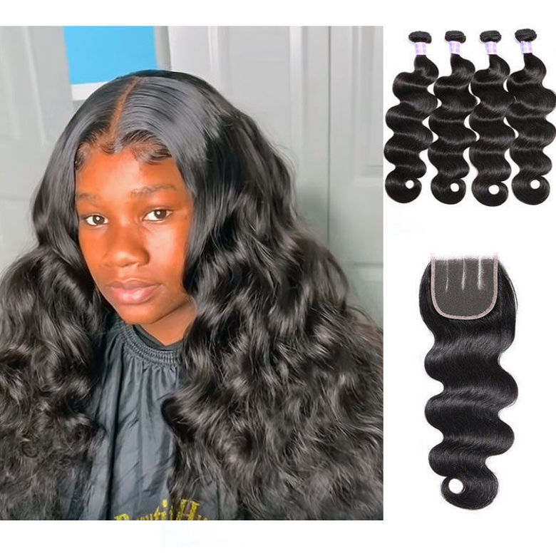 SocoosoHairWig malaysian body wave 4 bundles virgin hair match with 1 closure top level