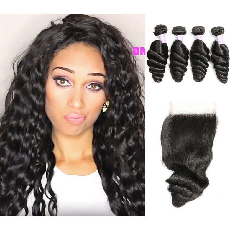 SocoosoHairWig a wig set of malaysian loose wave hair 4 pcs match with 1 lace closure 4x4 inch