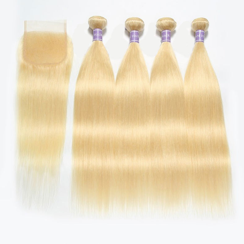 SocoosoHairWig 4 bundles 613 blonde human hair weave with 4 by 4 closure of peruvian straight hair