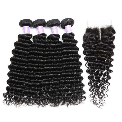 SocoosoHairWig brazilian deep wave human virgin hair 4 pcs match with 1 pcs 4 by 4 inch lace closure