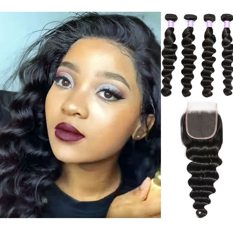 SocoosoHairWig indian virgin loose deep wave 4 hair weft 1 lace closure