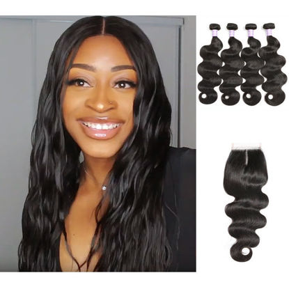 SocoosoHairWig 4pcs peruvian body wave virgin hair weft match with 1 4x4 lace closure