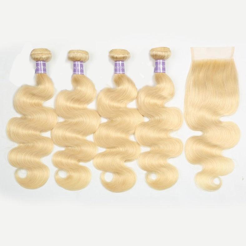 SocoosoHairWig indian body wave 613 blonde unprocessed human hair weaves 4 pcs with 1 unit closure 4x4 i