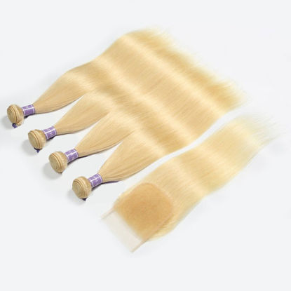 SocoosoHairWig 613 blonde lace closure 4x4 inch 1 unit 4 bundles of malaysian straight virgin human hair