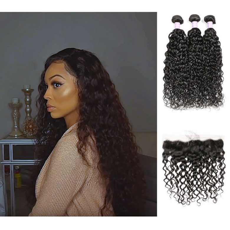 SocoosoHairWig high quality indian natural wave 100 virgin human hair 3 bundles with 13x4 lace frontal c