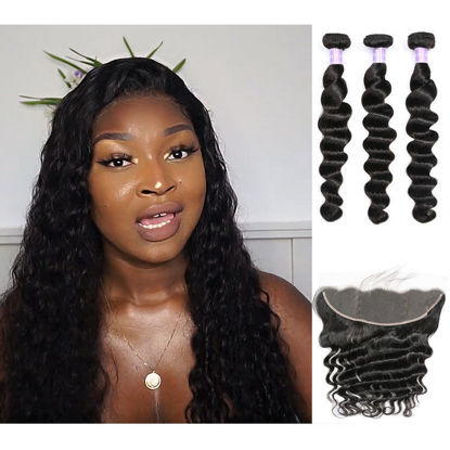 SocoosoHairWig loose deep wave virgin human hair 3 bundles with 13x4 lace frontal closure