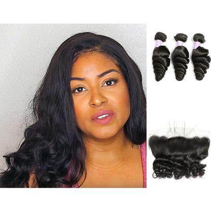 SocoosoHairWig top quality malaysian loose wave virgin human hair 3 bundles with 13x4 lace frontal closu