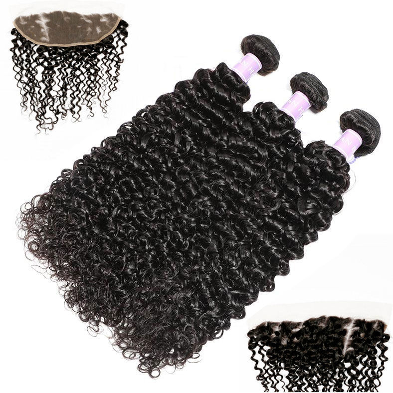 SocoosoHairWig grade 7a virgin jerry curly hair weft 3 bundles with 13x4 inch lace frontal closure