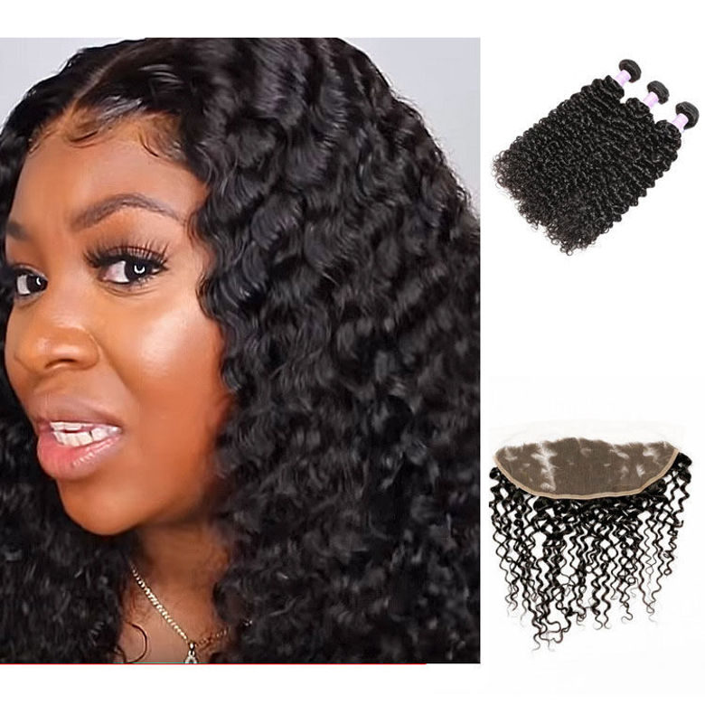SocoosoHairWig 3 bundles of high quality malaysian curly virgin hair weave with 13x4 lace frontal closur