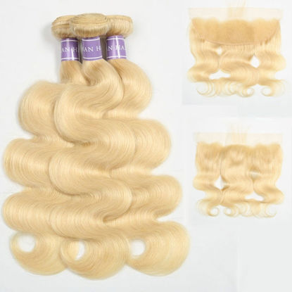 SocoosoHairWig top quality 613 blonde body wave real virgin human hair weft 3 bundles with 13x4 inch lac