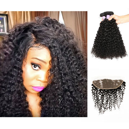 SocoosoHairWig 3 bundles of 100 virgin peruvian curly human hair 1pcs 13x4 inch lace frontal closure