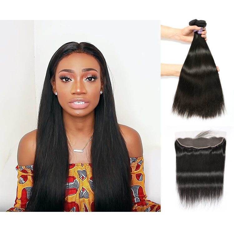 SocoosoHairWig top quality peruvian soft straight 100 virgin hair weft 3 bundles with 13x4 lace frontal